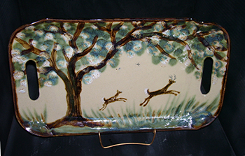 Brown Trees Deer Tray